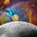 Orion Nebula-Moon-Saturn Fantasy