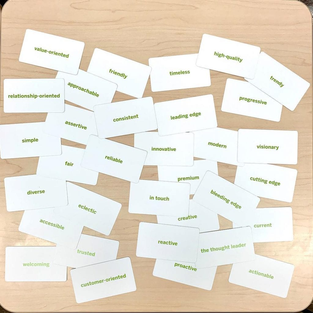 Overhead view of flash cards