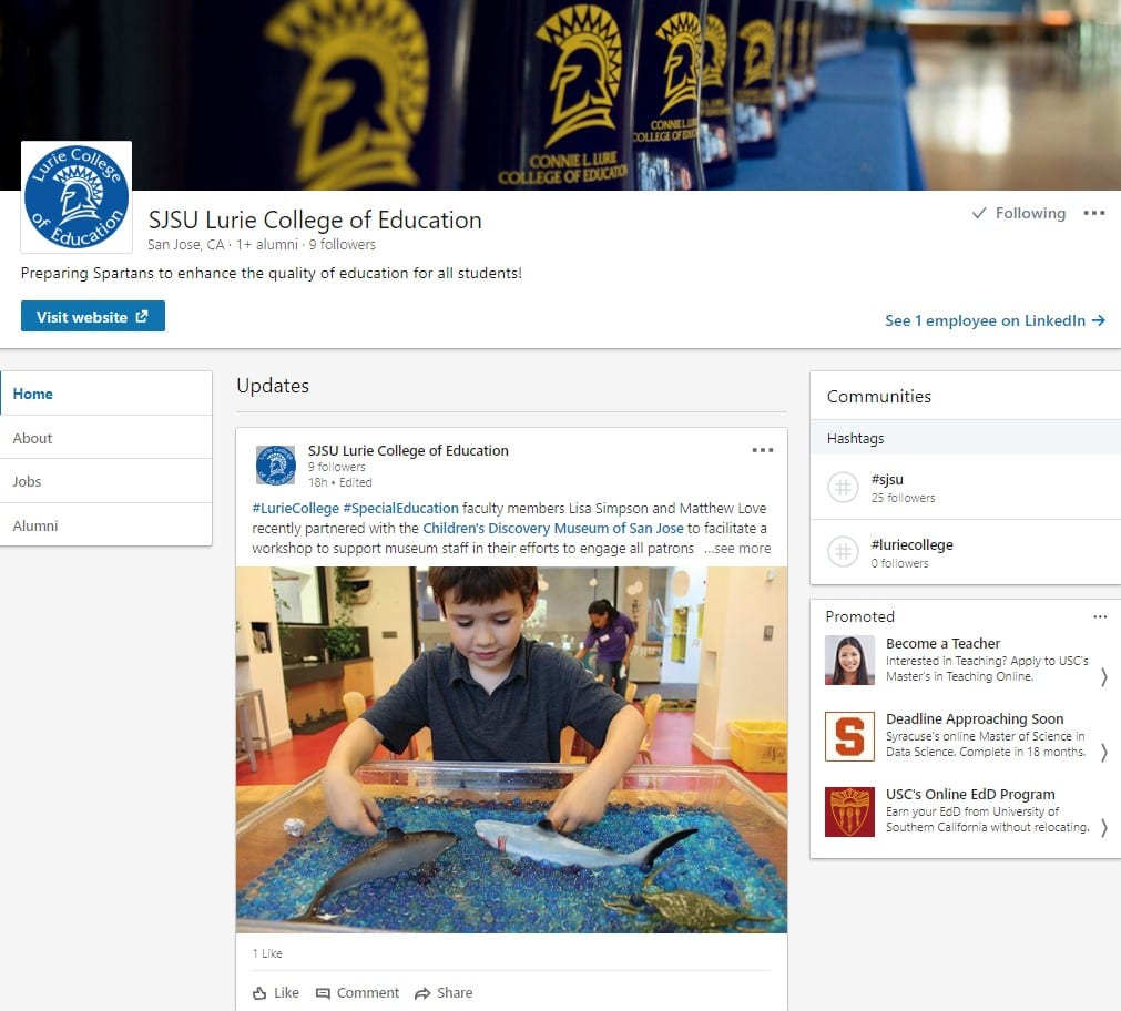 SJSU Lurie College LinkedIn page screenshot