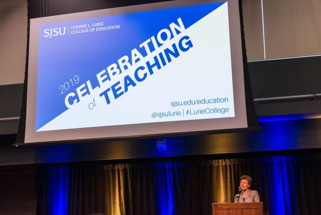 SJSU Lurie College of Education Dean Heather Lattimer Welcomes Celebration of Teaching Attendees