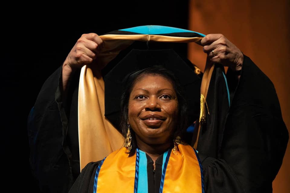 Lurie College Ed.D graduate Annette Kennedy receives her doctoral hood