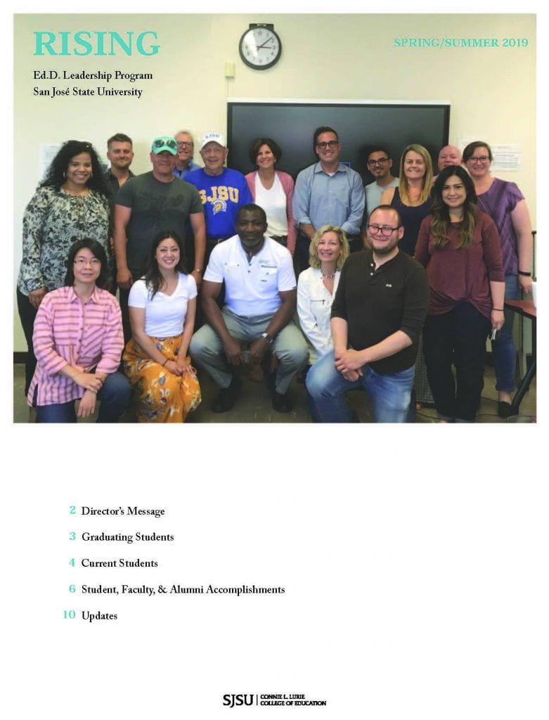 SJSU Lurie College of Education Ed.D Leadership Program Spring Summer 2019 Newsletter