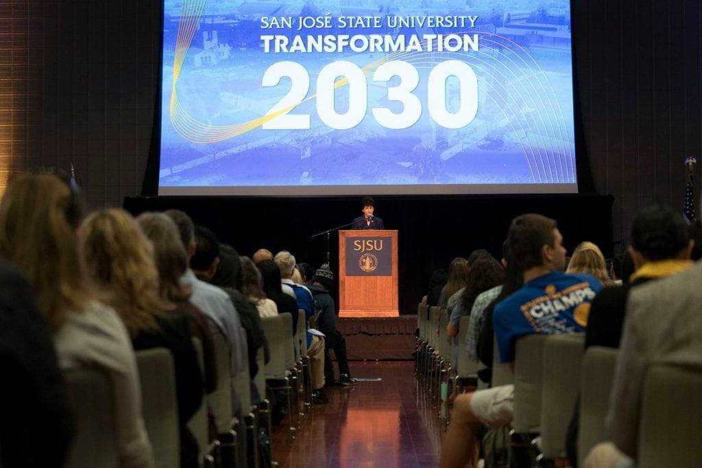 The unveiling of Transformation 2030 took place at SJSU's Student Union on April 8, 2019.