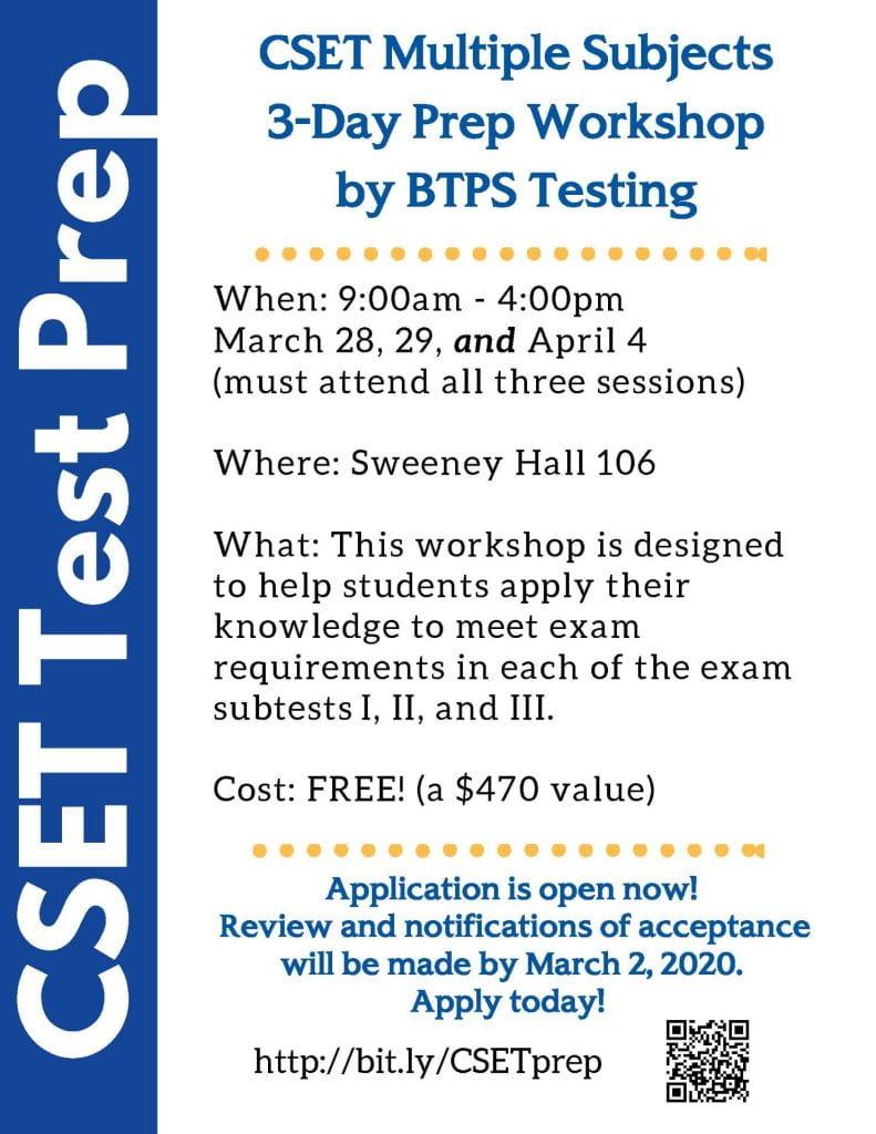 SJSU Lurie College of Education CSET Workshop