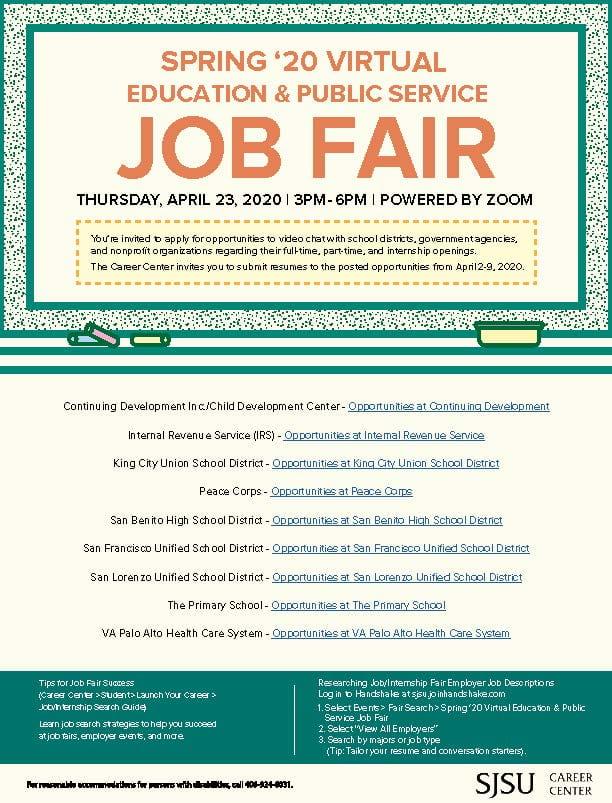 Spring 2020 SJSU Virtual Education and Public Service Job Fair