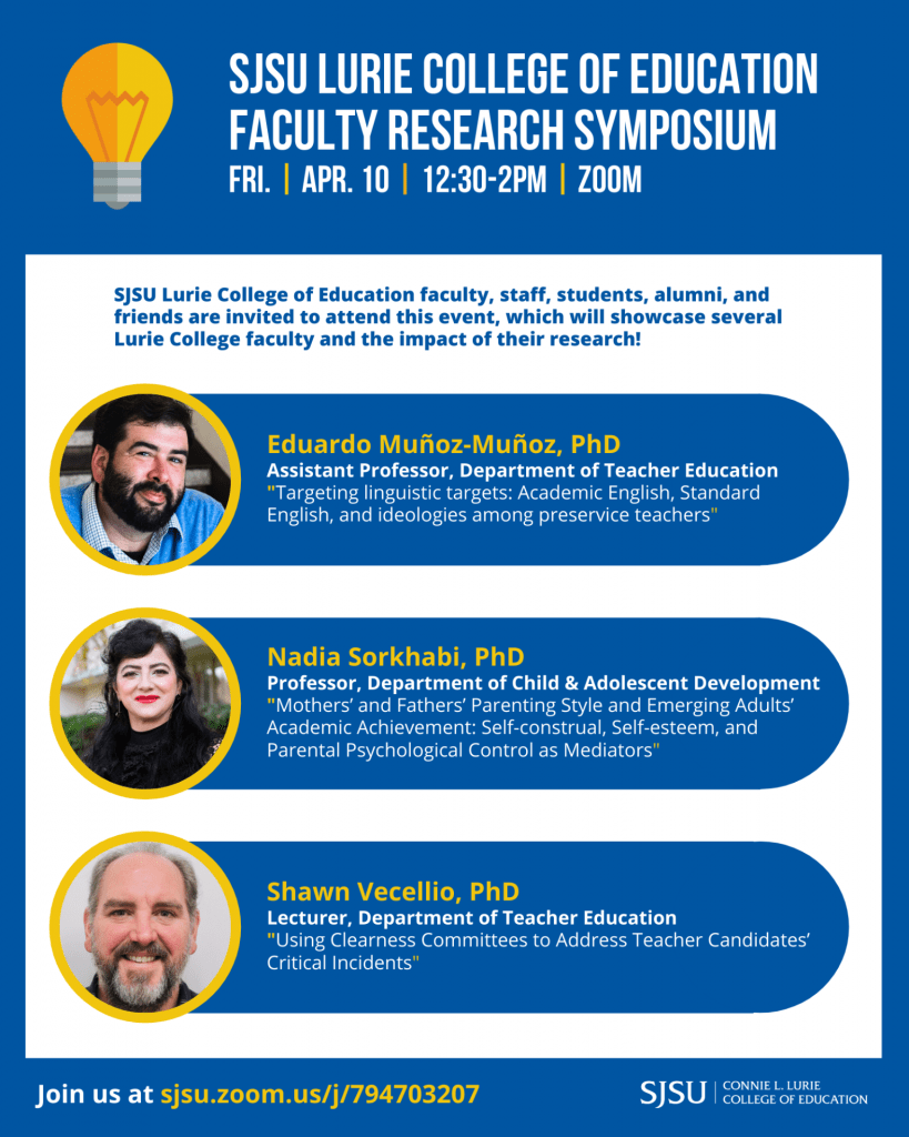 SJSU Lurie College of Education Spring 2020 Faculty Research Symposium