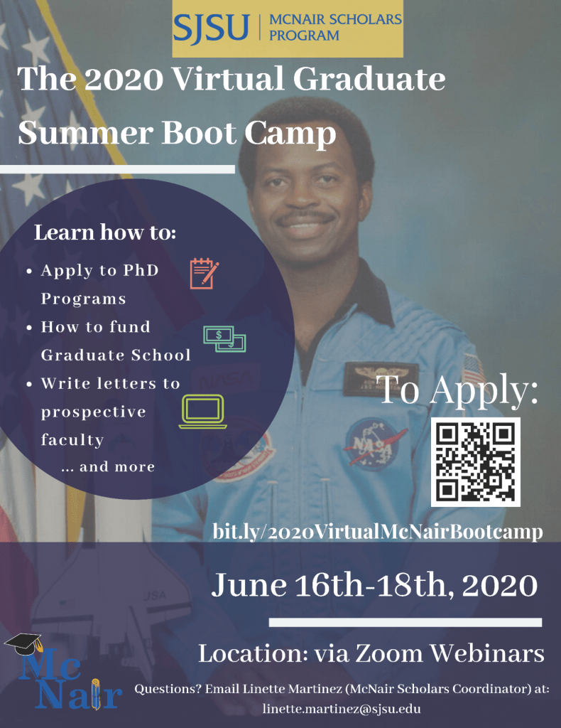 2020 Virtual SJSU McNair Scholars Boot Camp Flyer