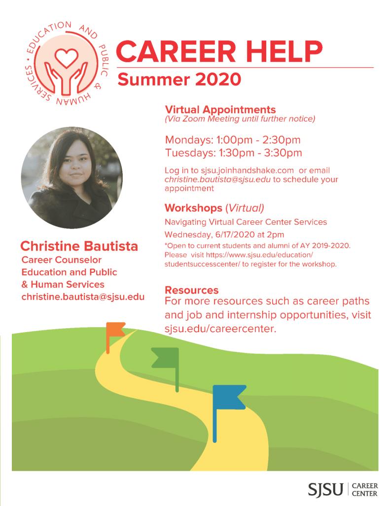SJSU Career Center Help Summer 2020 Christine Bautista
