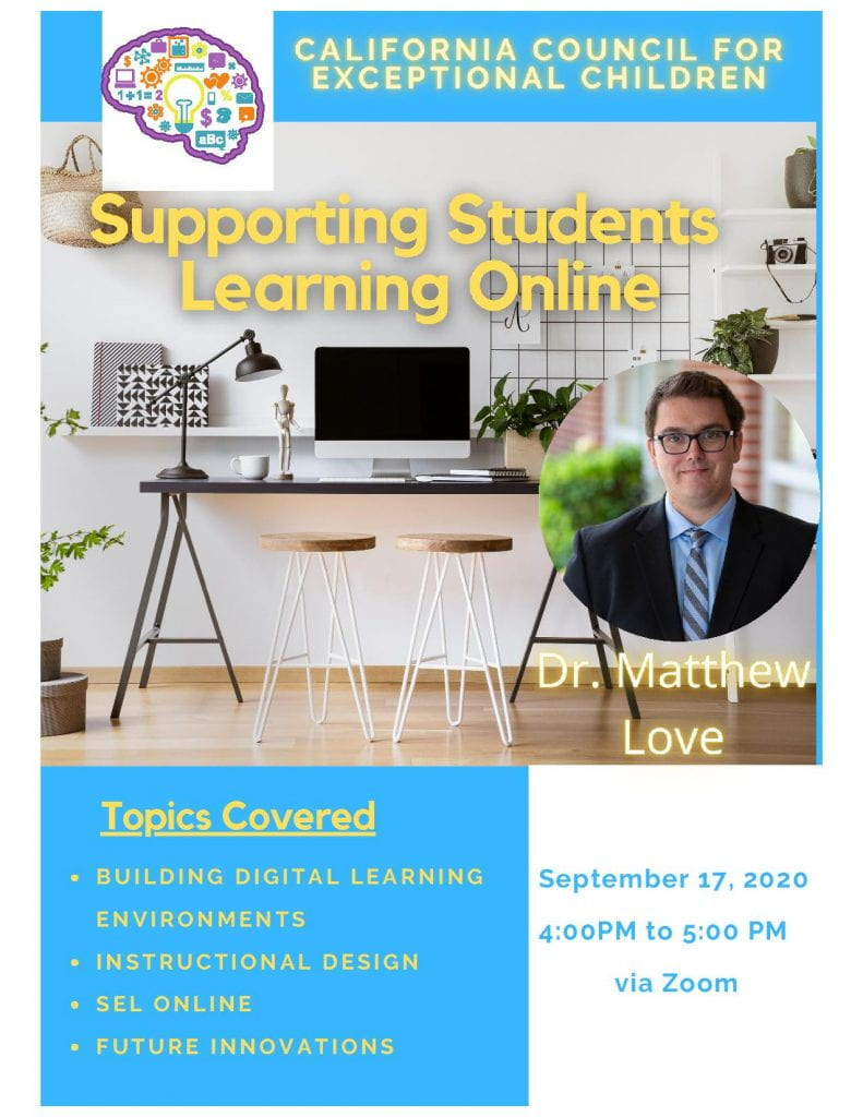 SJSU Lurie College of Education Special Education Faculty Matt Love Supporting Students Learning Online