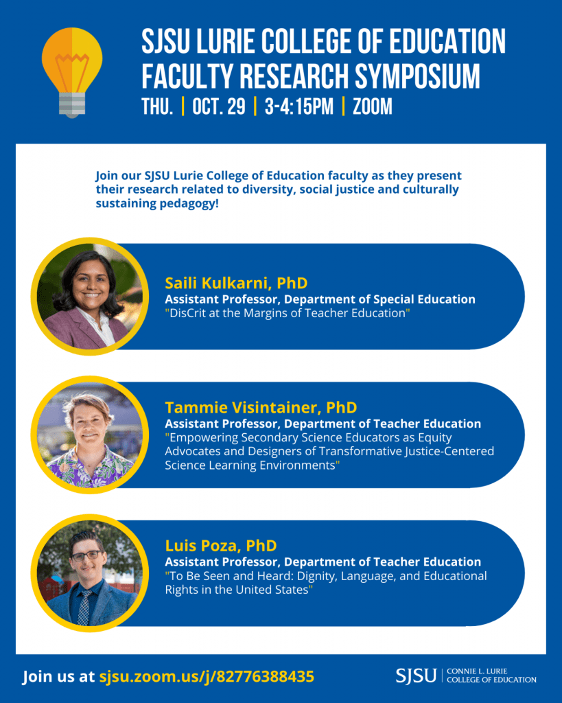 SJSU Lurie College of Education Fall 2020 Faculty Research Symposium 1