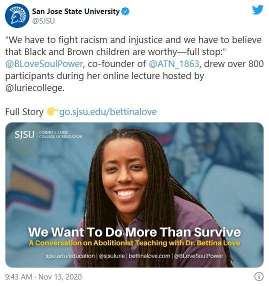 SJSU Lurie College of Education Bettina Love Tweet