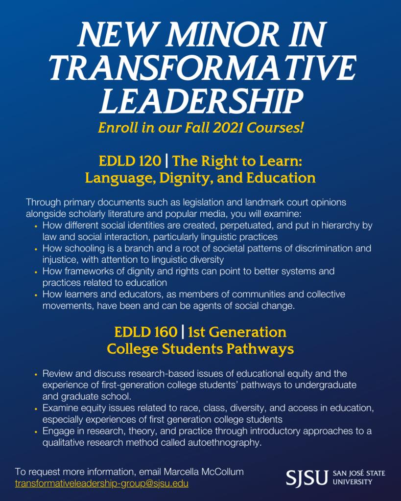 SJSU Lurie College of Education Transformative Leadership Minor Fall 2021 Courses