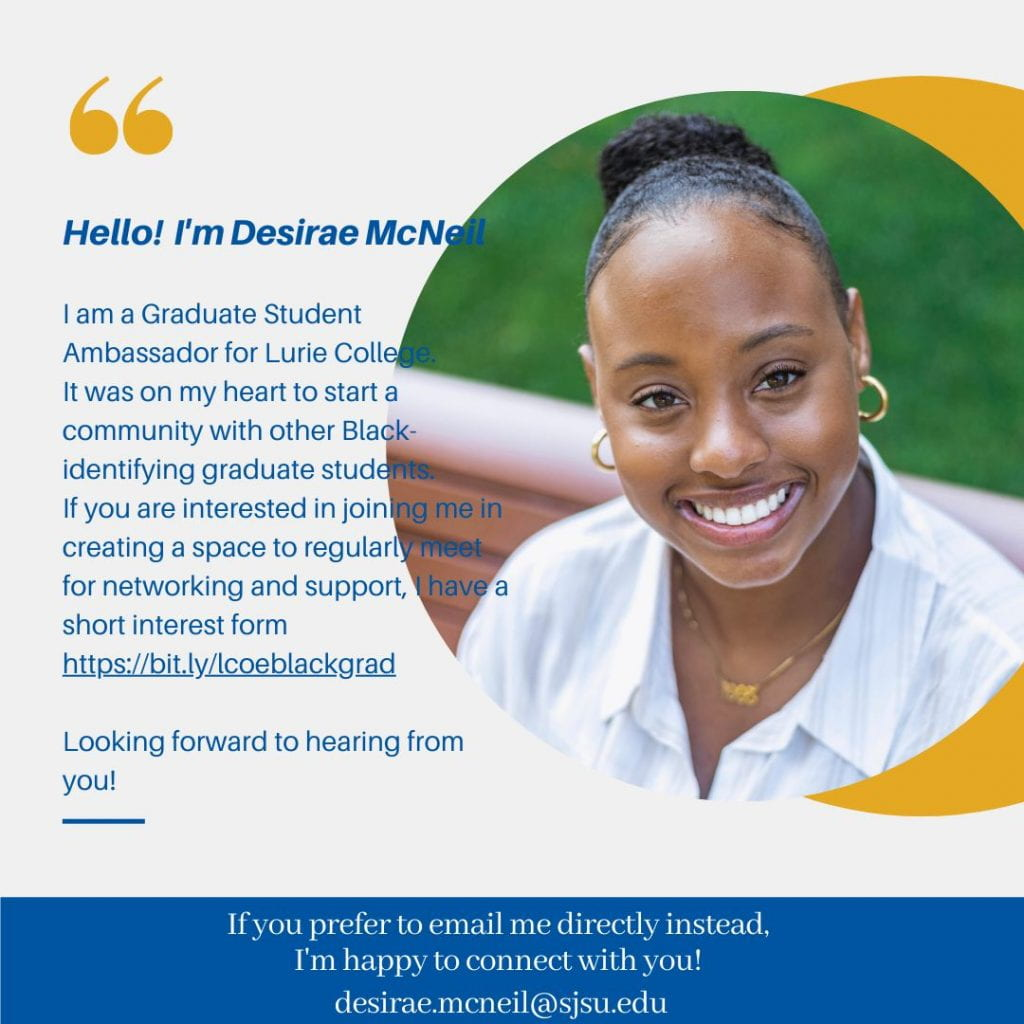 SJSU Lurie College of Education Counselor Education Graduate Student Desirae McNeil