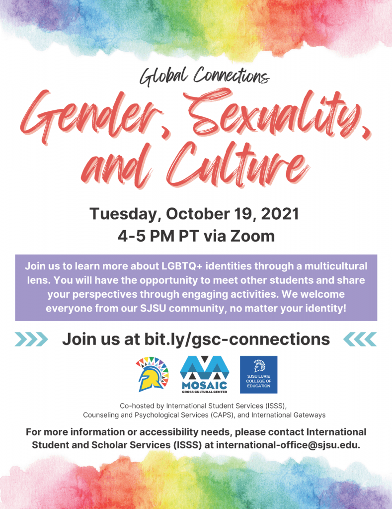 SJSU Global Connections Gender Sexuality and Culture Workshop Lurie College Pride Center-MOSAIC Center 2