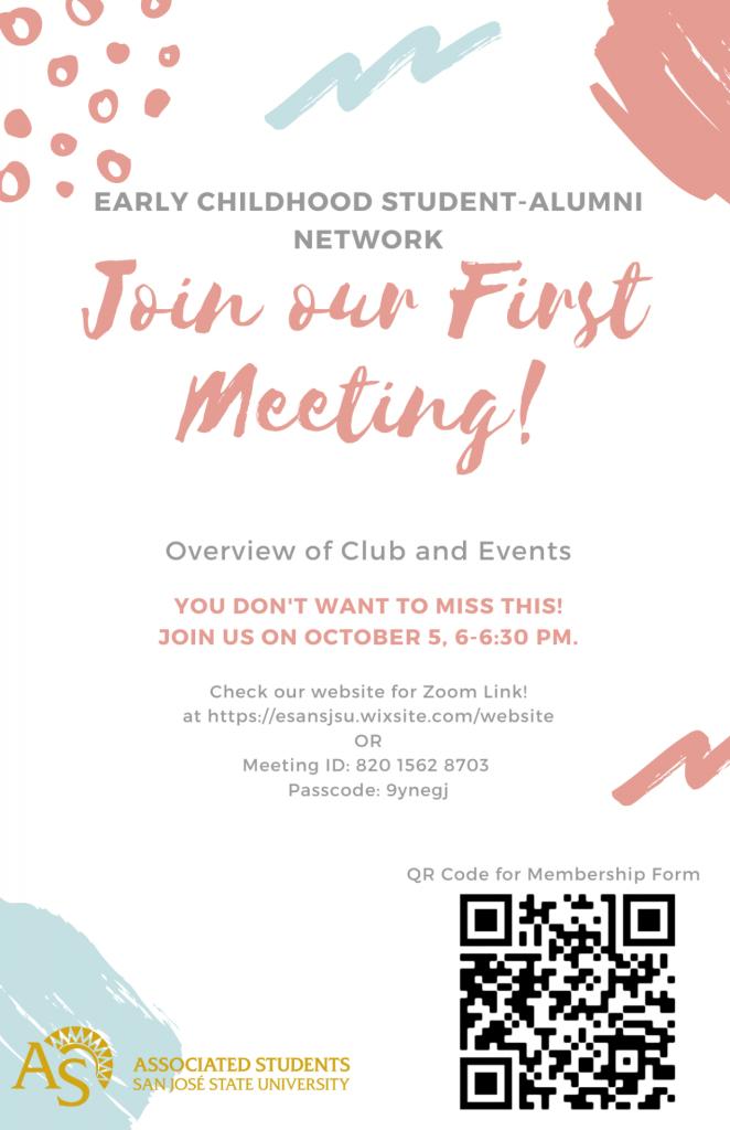 SJSU Lurie College of Education Early Childhood Student Alumni Network ESAN Fall 2021 Meeting