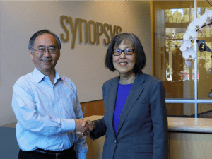 Chi-Foon Chan, President and co-CEO of Synopsys with Dr. Belle Wei, Carolyn Guidry Chair in Engineering Education and Innovative Learning, Davidson College of Engineering, SJSU