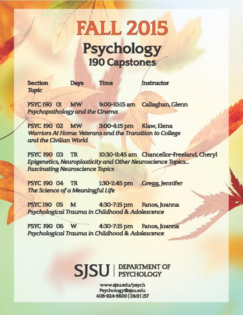 Fall PSYC 190 Schedule
