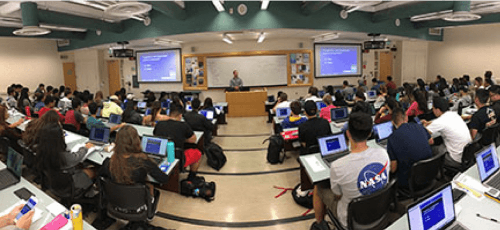 The iClicker student response system in use at SJSU.