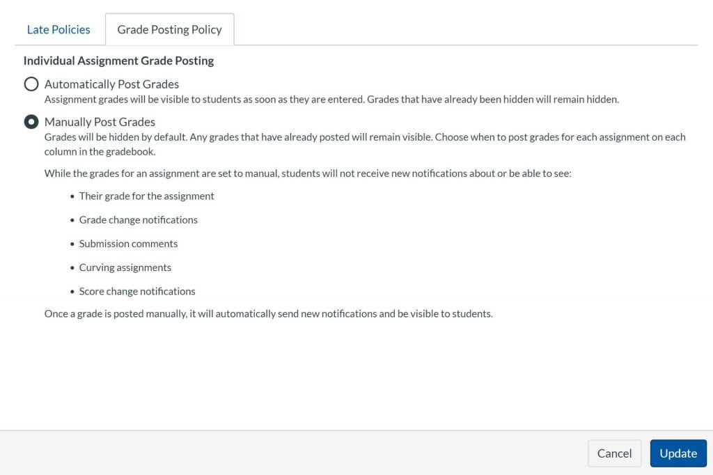 Grade book setting for grade posting policy