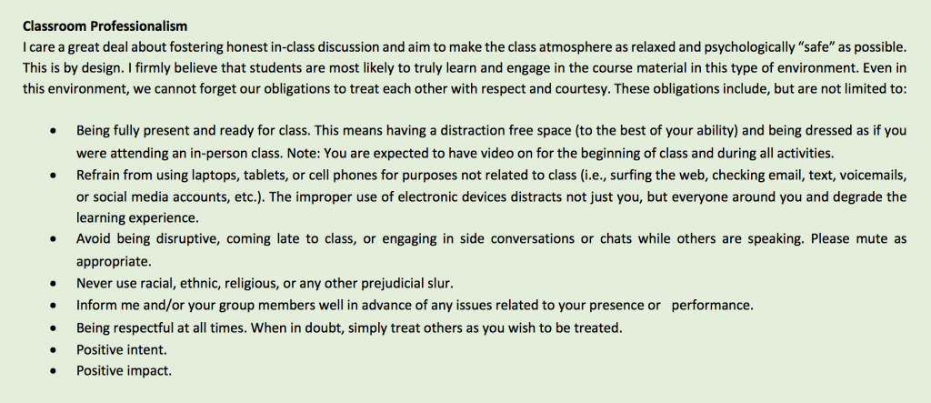 Classroom Professionalism verbiage from syllabus