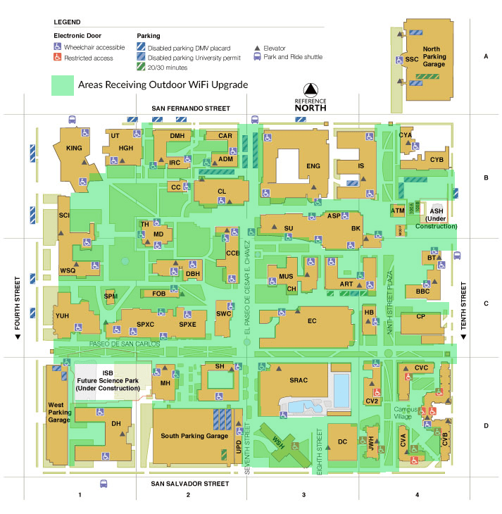 A map showing the areas on campus that will receive outdoor WiFi