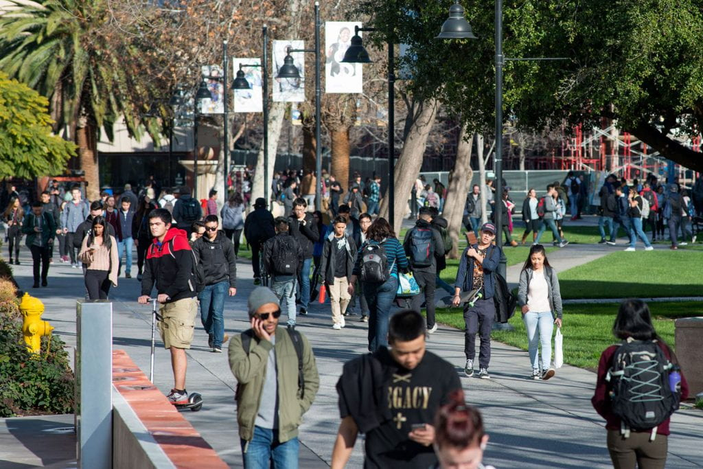 SJSU students walking around campus