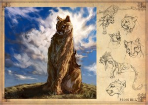 Concept art by student Aidan Sugano submitted for DreamCrits. Shows cat in full color plus black-and-white sketches.