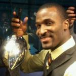 James Jones holds the Lombardi Trophy following Super Bowl XLV.