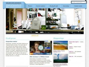 Screen shot of the Journalism and mass communications site.