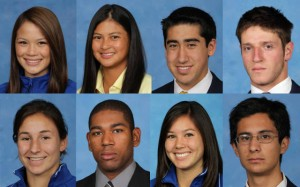 Portraits of eight different students with blue backgrounds.