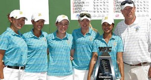 SJSU Women's Golf Team with trophy.