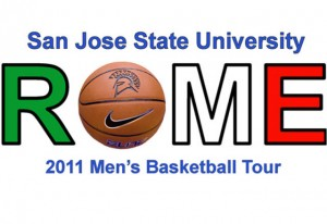 The word Rome with a basketball in place of the O with a spartan logo on it.