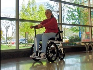 A woman sitting in the Rochair, a manual wheelchair that won the Silicon Valley Business Competition for 2010
