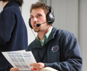 Justin Allegri at a broadcast of a hockey game at the American Collegiate Hockey Association Division 2 National Tournament.