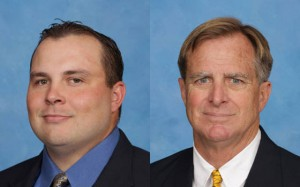 Two portraits of the new assistant coaches both wearing suites.