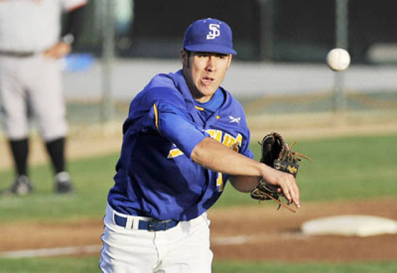 Pitcher right after throwing a ball wearing SJSU jersey blue and gold with white pants.