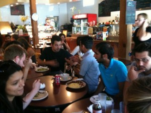 SJSU and exchange students share a meal and conversation at a nearby restaurant.