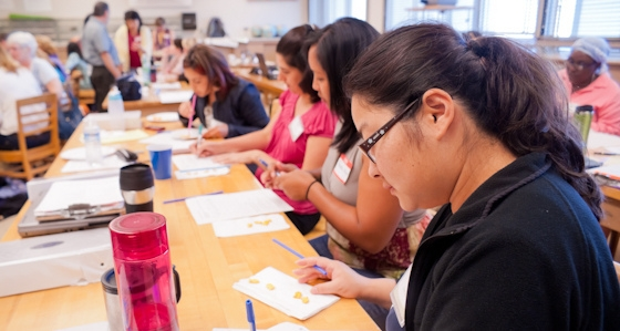 K-12 teachers in an SJSU classroom for professional training