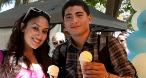 Young man and lady holding ice cream cones (photos by Elena Polanco).