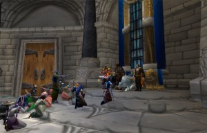 A screen shot of World of Warcraft game with characters that were created by 3rd Faction. The characters are standing on stairs looking up and trying to convince the leader to change his views.