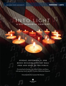 A flyer with a U.S. flag, candles, and music notes for Into Light: A 9/11 Memorial Concert on Sunday, September 11, at 8 p.m. in the Music Concert Hall Building.