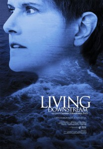 film poster shows film subjects face, with body made of water
