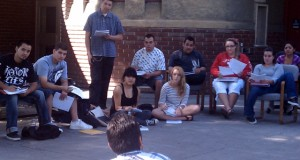Mexican-American Studies students gather around mentor Felipe Ponce, foreground, at a study session outside of Yoshihiro Uchida Hall. Courtesy photo.<br>