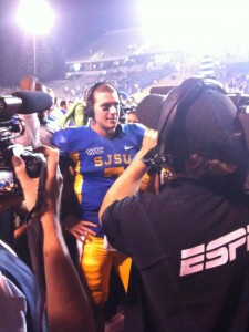 San Jose State quarterback Matt Faulkner being interviewed by ESPN after a victory during the homecoming football game.