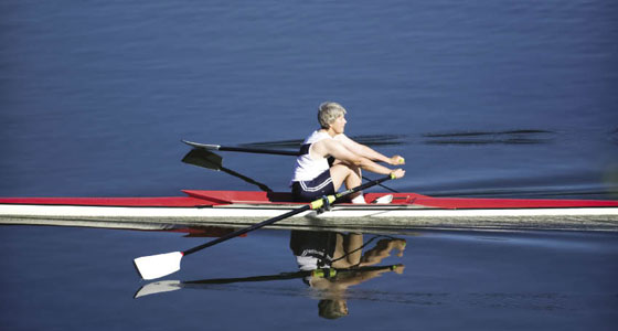 Shirley Reekie practicing at the Los Gatos Rowing Club, located at the Lexington Reservoir.
