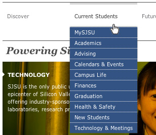 Screen shot showing main navigation of the new sjsu.edu