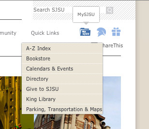 Screen shot of quick links and icons on the new sjsu.edu