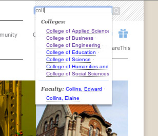 Screen shot of search-as-you-type function on the new sjsu.edu