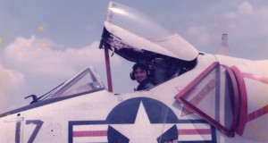Jack Harding Sr. sits in a jet. Harding served as a Navy jet mechanic. Photo courtesy of Jack Harding Sr.