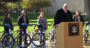 Assemblymember Jim Beall with bike recipients.